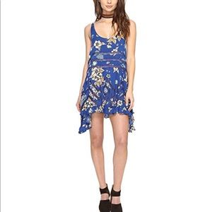 Free People Voile Trapeze Blue Floral Lace Slip